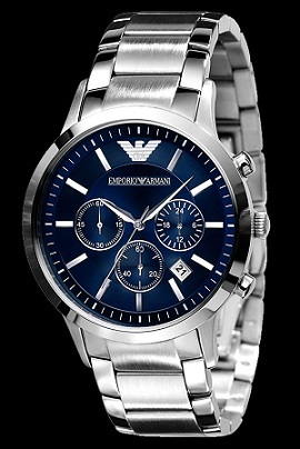 a43c76a85d7 MENS EMPORIO ARMANI BLUE DIAL STAINLESS STEEL CHRONOGRAPH WATCH AR2448    BRAND NEW