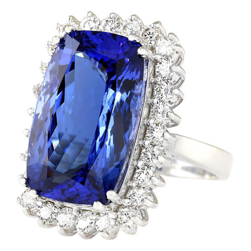 Champagne Tanzanite Tanzanite: 14ct White Gold Cushion Cut 17.50ct Blue Tanzanite