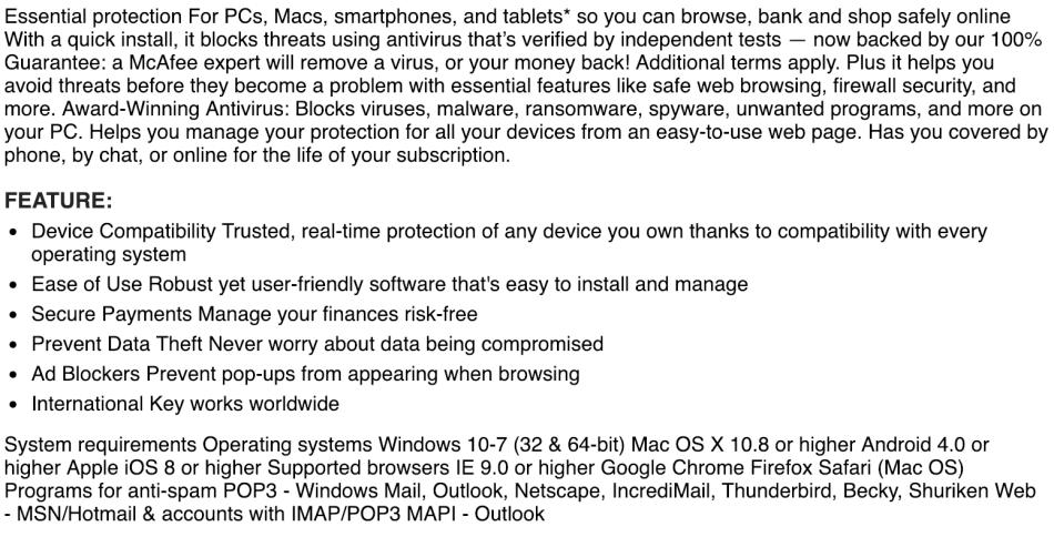 Antivirus & Security - Download McAfee Antivirus PLUS 2019 1