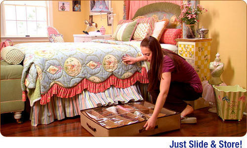 Easy to use, Slide and store. 2.Under Bed Clothes Organizer is the easy  solution to saving space, to organize Clothes.