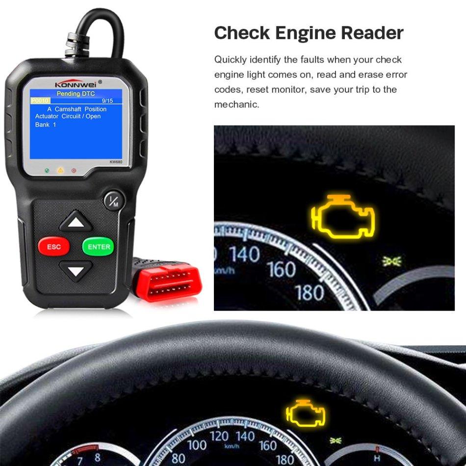 KONNWEI OBD2 Code Reader KW680 Enhanced Check Engine Light Scan Tool OBD II  Scanner for Cars After 1