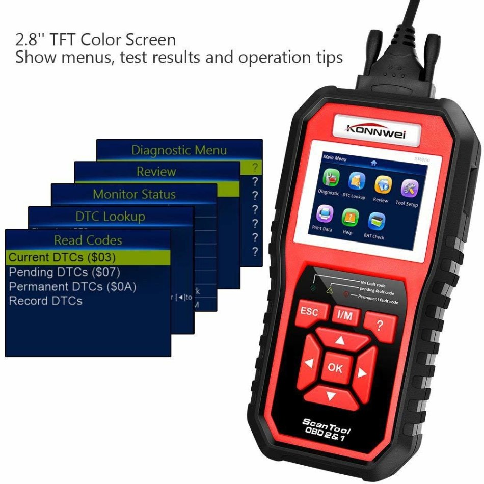 KONNWEI KW850 Professional OBD2 Scanner Auto Code Reader Diagnostic Check  Engine Light Scan Tool for