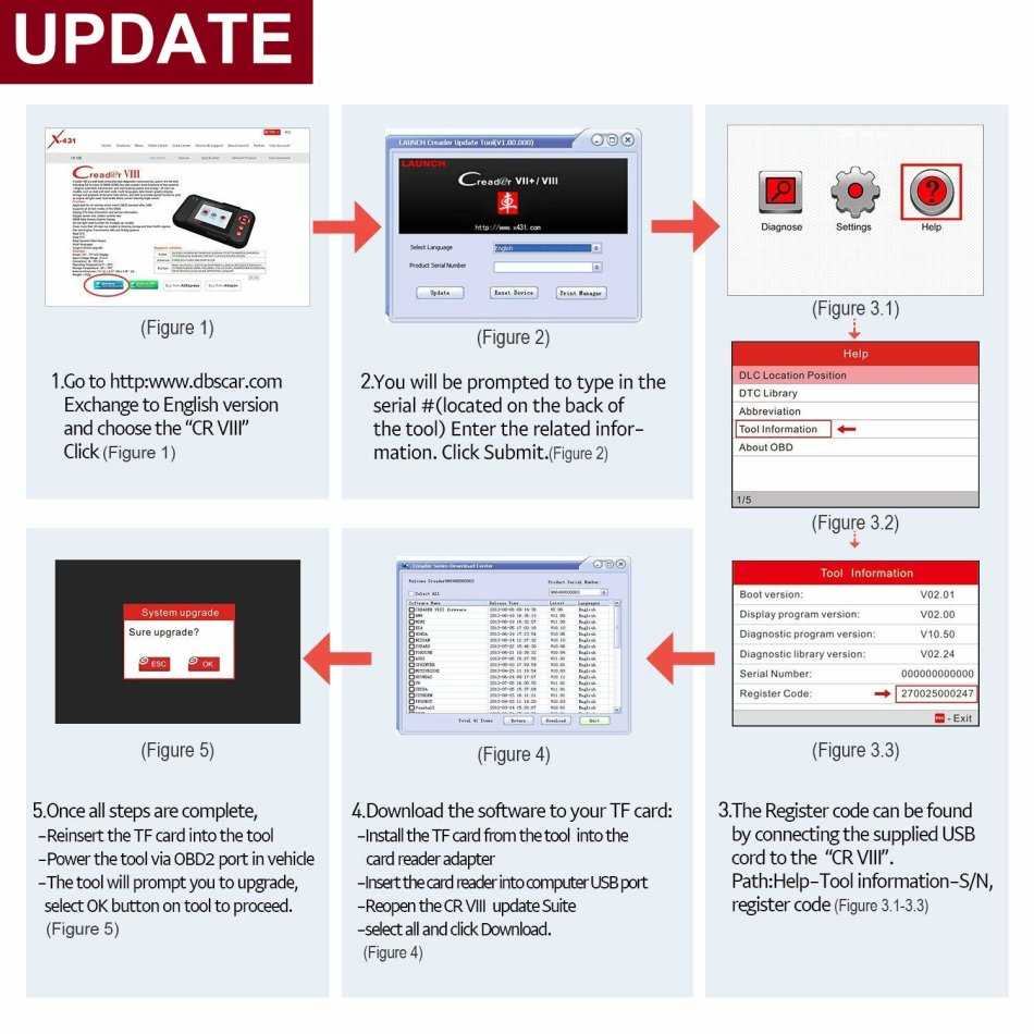 Repair Kits - Launch X431Cread VIII OBD2 Scanner Vehicle Code Reader