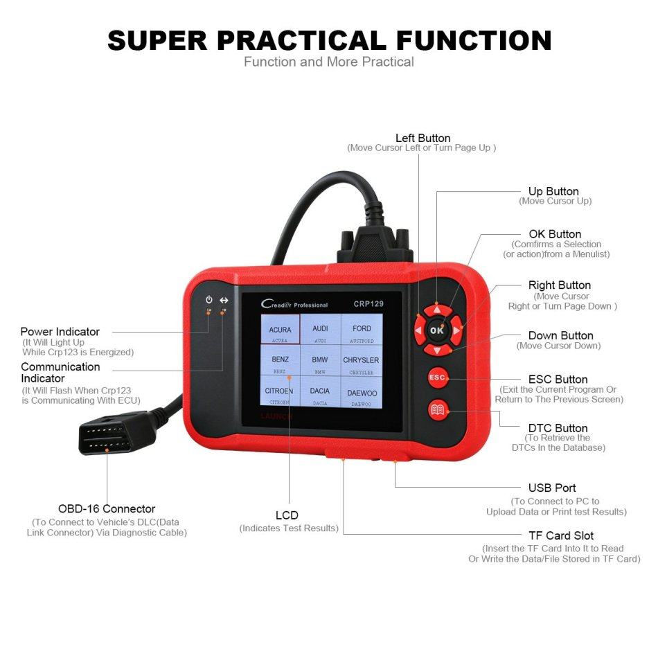 Repair Kits - Launch CRP129 OBD2 Scanner Scan Tool ENG/AT/ABS/SRS