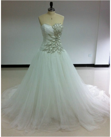 Wedding Dresses - Sweetheart Ivory Tulle Ball Gown Wedding Long ...