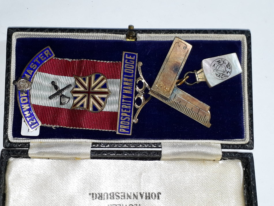 Other Medals - VINTAGE MASONIC WORSHIPFUL MASTER JEWEL 1944 - SILVER