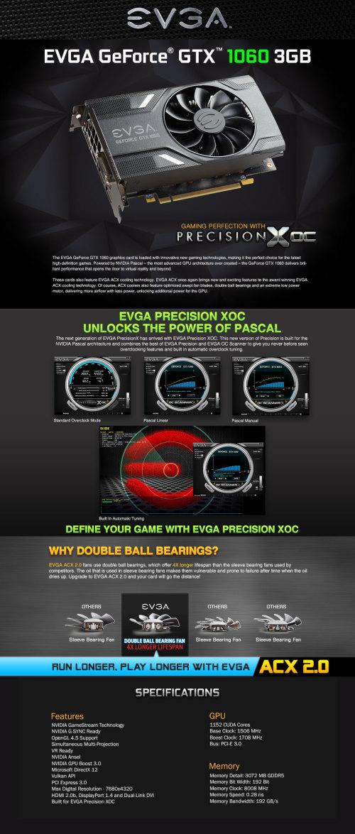 Graphics & Video Cards - EVGA GeForce GTX 1060 GAMING, 03G