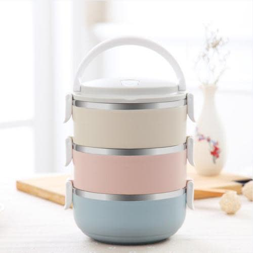 99d09a5752b0 3 Layers Stainless Steel Lunch Box Thermal Food Bento Insulated Container