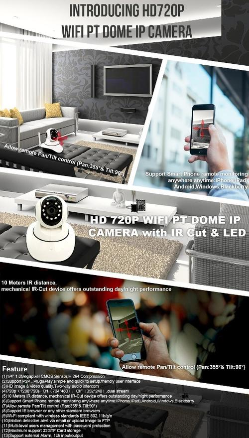 Surveillance Cameras - HD 720P PTZ Nanny wireless CAM ( one
