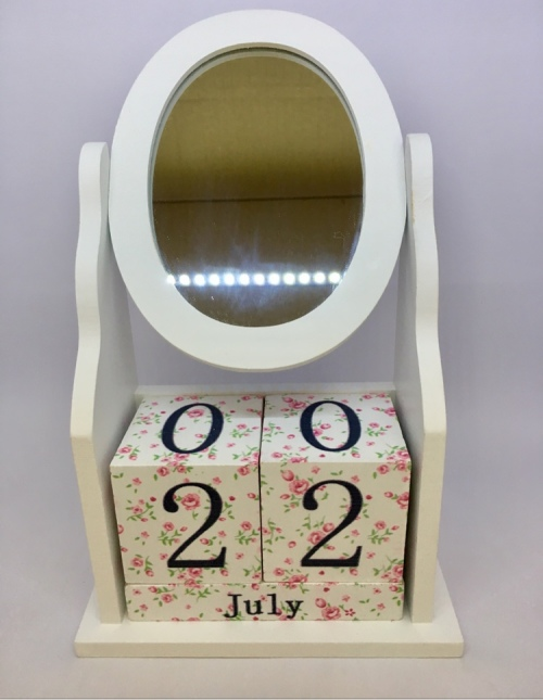 30571adc3875 Other Gadgets - Calendar Block with Circular Mirror - Wooden ...