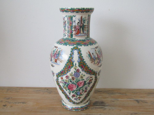 Oriental Porcelain Large Vintage Oriental Porcelain Vase 35cm
