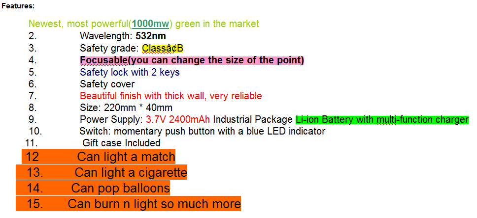 Heavy Duty 1000MW Green Laser Pointer, Can