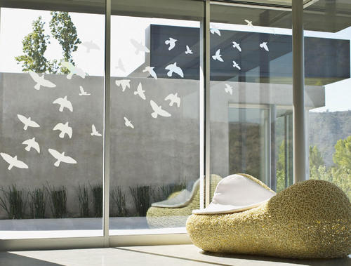 Sandblasted frosted glass effect flying birds vinyl wall art sticker decal for glass windows