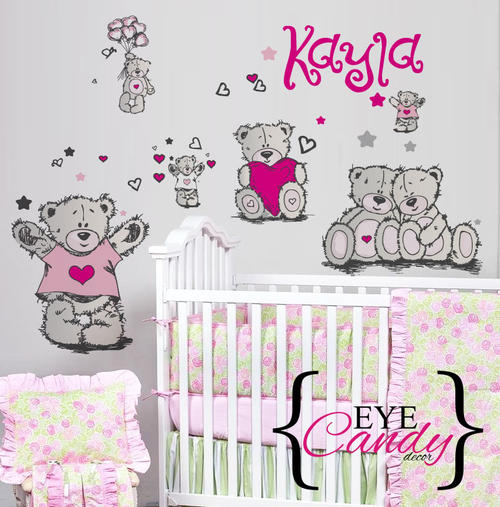 Wall Decals Personalised Tatty Teddy Girls Baby Kids