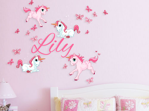 Personalised unicorns and name for girls babies vinyl wall art sticker decal vinyl tattoo decor