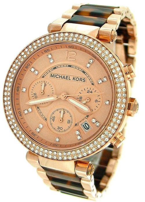 Ladies Michael Kors Parker model in a stunning two-tone design with rose  and tortoiseshell-style highlights. This glitzy model has a stone set bezel  and ... 996bfa5cdb