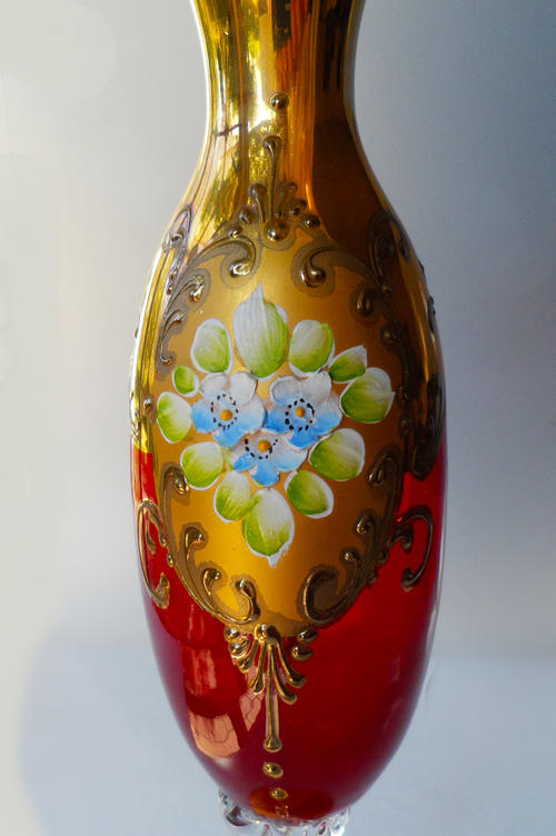 Vases Vintage Venetian Ruby Red Gilded Hand Painted
