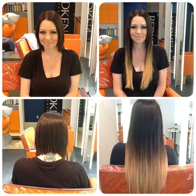 Ombre extensions in short hair