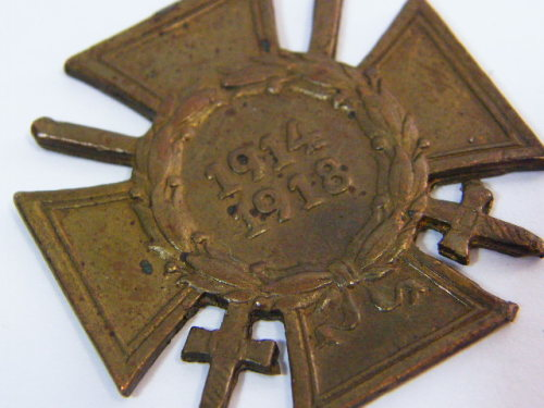 WW1 German Cross of honour medal with no top - made from unknown alloy
