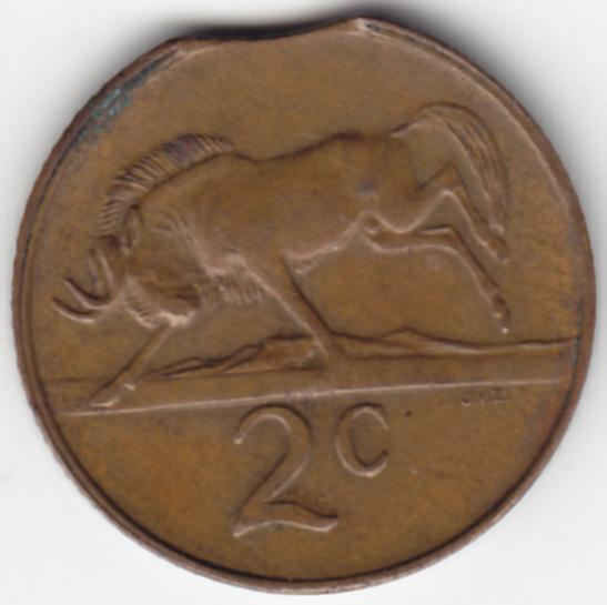 ERROR Coin - South Africa 1982 Copper 2c with Clipped Planchet - as per photo