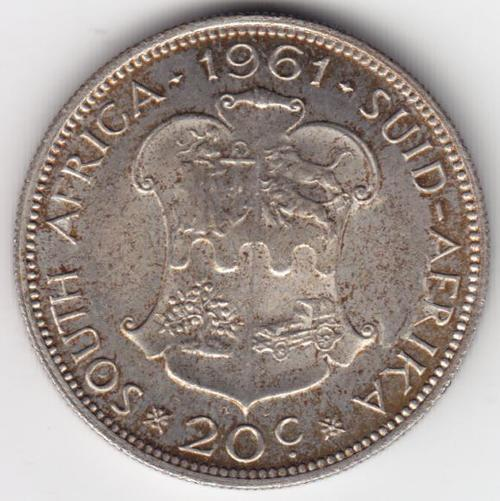 1961 South Africa Silver 20 cent - Cracked die obverse - as per photo