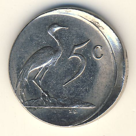 RSA Misstruck 1986 nickel 5 cent - as per scan