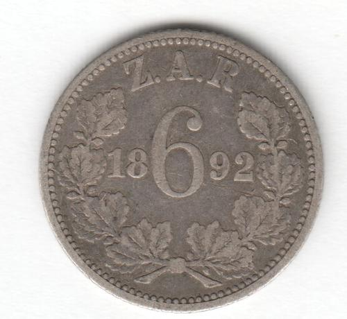 Sixpence Zar Silver 1892 Sixpence As Per Photo Was