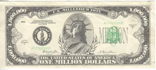 USA $1000 000 millenium note celebrating the right to bear arms - as per photo