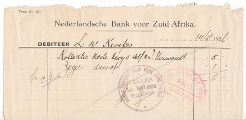 Nederlandsche Bank voor Zuid Afrika Dullstroom 1926 deposit slip - as per photo