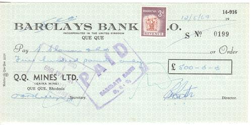 1969 Que Que Mines Barclays bank cheque for 500 pound - Rhodesia - as per scan