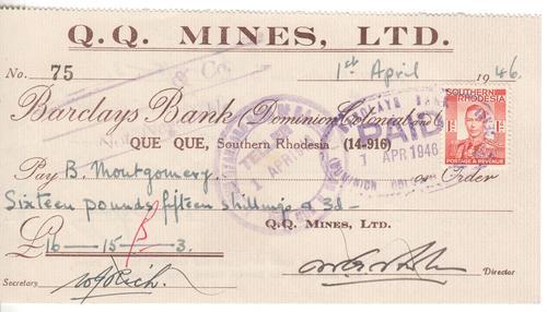 QQ Mines Ltd 1946 - Southern Rhodesia cheque - as per scan