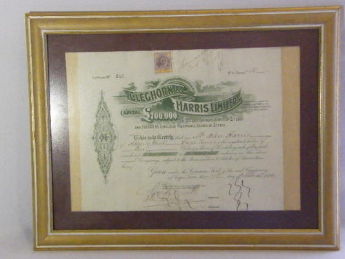 1905 Cleghorn & Harris share certificate to John Harris for 10 shares - 31 March 1905 - as per photo