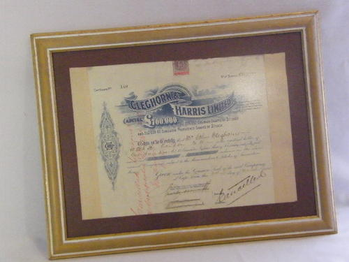 1905 Cleghorn & Harris share certificate to John Cleghorn for 100 shares - 31 March 1905