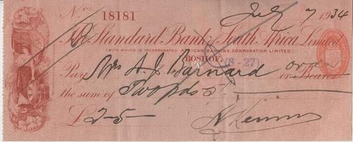 1934 Standard Bank of South Africa cheque - Boshof branch - cheque number 18181 - as per photo