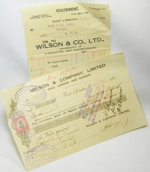 Wilson & Company 1935 statement cheque (promissory note) - National Bank of South Africa (Barclays)