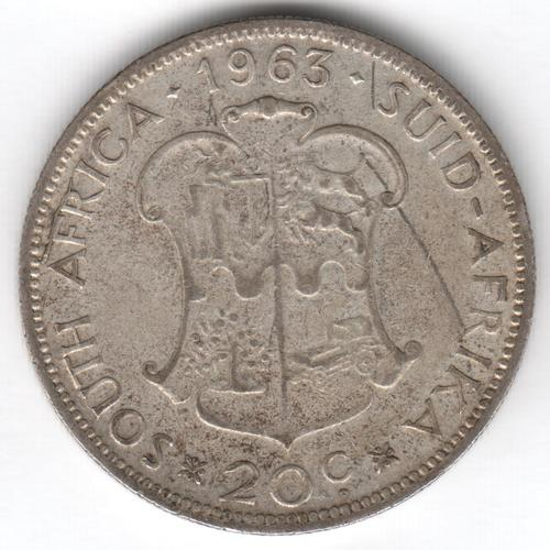 1963 RSA silver 20 cent with cracked die on top of Africa - as per photo