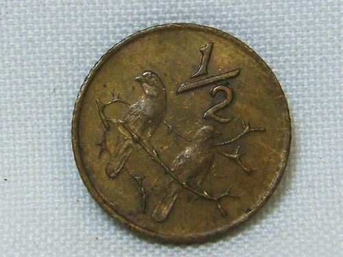 1970 South Africa half cent with cracked die error - as per photo