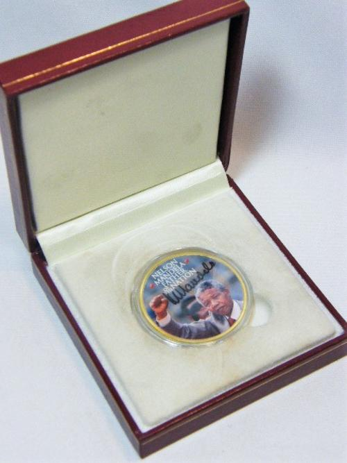 Nelson Mandela - Father of the Nation - By Act of Congress 1998 proof medallion - as per photo