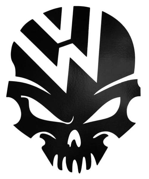 Vw logo black skull car decal sticker for volkswagen beetle polo golf cc touareg tiguan passat scirocco