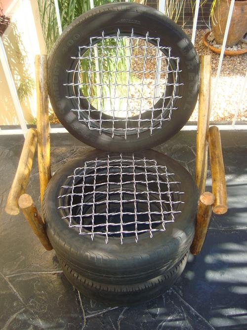 Unusual items 60 year guarantee car tyre garden for Tyre furniture