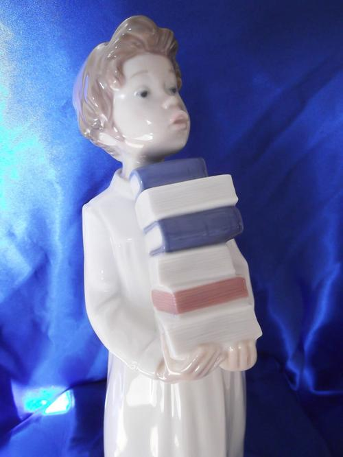 Other Ornaments Nao By Lladro Tall Boy Holding Books Was