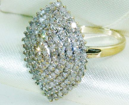 engagement rings   9ct gold 1ct diamond cluster