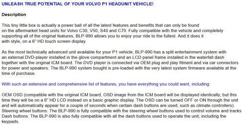 Volvo C30/S40/V50/C70 6 HD LCD Touchscreen GPS Navigation Multimedia  Entertainment Headunit (Black)