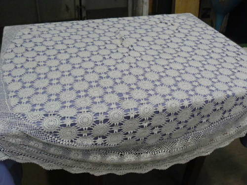 Large Round Table Cloth.Vintage Cotton Hand Crocheted Table Cloth Large Round Table Reduced