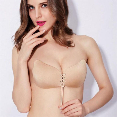 7f037627b79e1 STRAPLESS BACKLESS BRA Push Up Silicone Drawstring Adjustable Breast Lift  Bras BEIGH