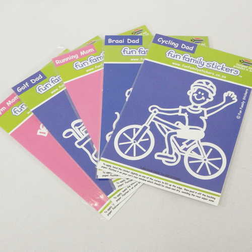 Lot of 5 Fun Family stickers - Gym mom, Golf dad, Running mom, Cycling dad and Braai dad