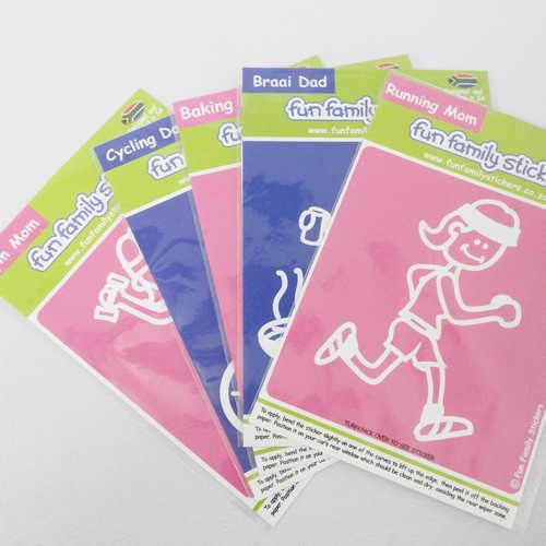Lot of 5 Fun Family stickers - Gym mom, Cycling dad, Baking mom, Braai dad, Running mom