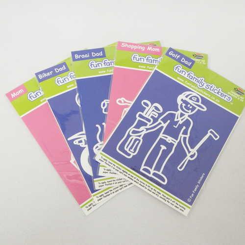 Lot of 5 Fun Family stickers - Mom, Biker dad, Shopping mom, Braai dad, Golf dad