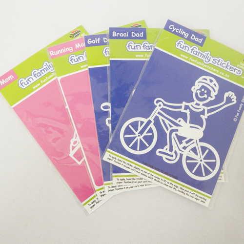 Lot of 5 Fun Family stickers - Mom, Running mom, Golf dad, Braai dad, Cycling dad