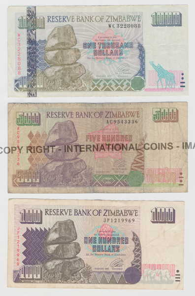 Lot Of 6 Zimbabwe Banknotes 10 Dollars To 1000